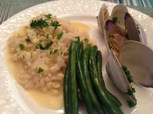 Jersey shore dinner of steamed clams, risotto and string beans